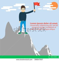 Business success concept. Successful Businessman. Businessman standing with red flag on mountain peak. Business concept cartoon. Flat style. Hipster businessman.  Concept business illustration.