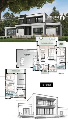 Modern Cubic house plan master suite on main 4 bedrooms open floor plan pantry fireplace home office garage Modern Home Design, Home Design Plans, Modern Homes, Modern Mansion, Modern Decor, Modern House Floor Plans, Contemporary House Plans, Modern Contemporary, Floor Plans 2 Story