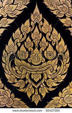 stock photo : Traditional Thai style art on temple's door Thai Symbols, Styrofoam Art, Thai Pattern, Thai Design, Mandala Artwork, Mehndi Art Designs, Thai Tattoo, Asian Tattoos, Thai Art