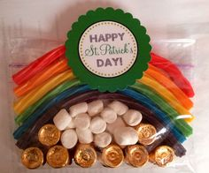 St Patrick's Day classroom treat...Rolos (gold), Marshmellows (clouds), and fruity Twizzlers (rainbow) Easy peasy! :)