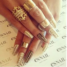 Gold and Crystal Embellished Nails. Royal look. O Spa Kelowna, En Vogue Gel Nails and Lac Sensation Manicures