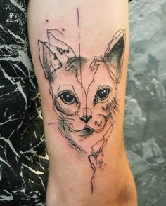 35 Unbelievable Cat Tattoos That Are Guaranteed To Leave You Thoroughly Impressed - TattooBlend Abstract Tattoo Designs, Cat Tattoo Designs, Design Tattoo, Abstract Tattoos, Trendy Tattoos, Love Tattoos, Beautiful Tattoos, Tattoos For Women, Cat And Dog Tattoo
