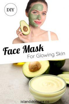 DIY - Avocado Face Mask For Glowing Skin - Island Skincare #AloeVeraFaceMask Garden Deco, Homemade Face Masks, Diy Face Mask, Avocado For Skin, Skin Mask, Face Skin, Aloe Vera Face Mask