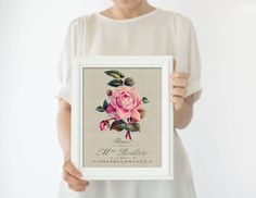 Rose Floral Wall Art Print, Botanical Art Farmhouse Decor, Country Home Flower Prints #RedRoseWallArt #FloralWallArt #BlushPinkWallArt #RosePrint #BotanicalPoster #FrenchProvincial #FlowerPrints #FarmhouseDecor #BotanicalPrint #BotanicalArt