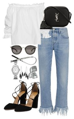 """Untitled #1396"" by she-is-wearing-this ❤ liked on Polyvore featuring 3x1, Isolda, Yves Saint Laurent, Charlotte Russe, H&M, Moncler and FOSSIL"
