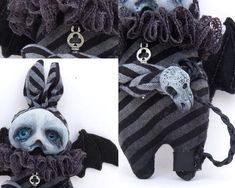 AdLib the Grimmblee a one of a kind creepy-cute Gothic Big Blue Eyes, Broody, Clay Faces, Creepy Cute, Black Felt, Little Monsters, Cute Creatures, Soft Sculpture, Vintage Fabrics