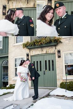Bride & Groom at the Little Inn, Bayfield, Ontario - Winter Wedding Groom in Canadian Military Uniform Military Wedding, Wedding Groom, Bride Groom, Bayfield Ontario, Winter Wedding Flowers, Small Intimate Wedding, Local Photographers, My Favorite Image, Engagement Pictures