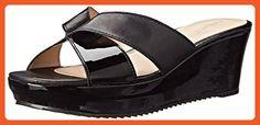 Nine West Women's Currvy Leather Wedge Sandal, Black/Black, 7.5 M US - Sandals for women (*Amazon Partner-Link)