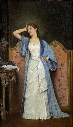 Auguste Toulmouche (1829-1890) - Jeune Femme au Paravent