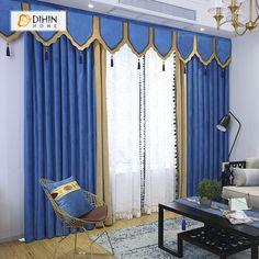 DIHIN HOME High Quality Blue Embroidered Valance ,Blackout Curtains Grommet Window Curtain for Living Room Panel Living Room Drapes, Cool Curtains, Curtains Living Room, Kids Curtains, Curtains, Drapes Curtains, Curtain Designs, Grommet Curtains, Blackout Curtains
