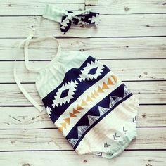 Baby Romper Sunsuit Aztec Tribal Playsuit by vintagestitches