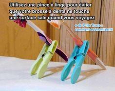 Utiliser une pince à linge pour tenir votre brosse à dents