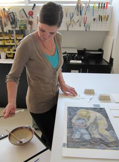 Conservation Technician, Prepares The Hinges And Wheat Starch Paste For The  New Mount #archival
