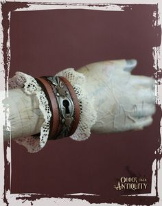 SALE Victorian Metal Keyhole Steampunk Rusty Lace Up Leather Bracer Cuff OOAK- Ready to ship via Etsy