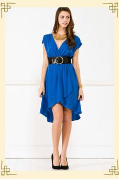 Love this color! And the high-low cut trend works a lot better when it's a wrap dress, I think ...