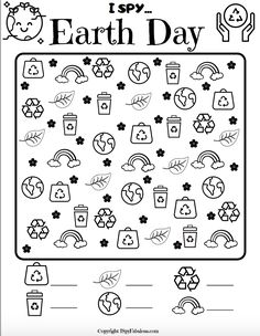 Earth Day Worksheets, Earth Day Activities, Worksheets For Kids, Activities For Kids, Therapy Activities, Earth Day Coloring Pages, Coloring Pages For Kids, Recycled Crafts Kids, Crafts For Kids