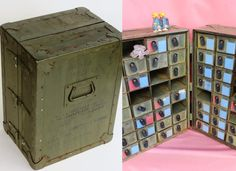 Portable US Army Medic Case / Field Hospital First Aid Kit: Heavy Duty Antique Wood & Steel Military Medical Storage Chest with 64 Cubbies