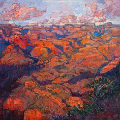 Grand Canyon in Orange - Erin Hanson Prints - Buy Contemporary Impressionism Fine Art Prints Artist Direct from The Erin Hanson Gallery American Impressionism, Modern Impressionism, Abstract Landscape, Landscape Paintings, Modern Paintings, Oil Paintings, Abstract Art, Landscapes, Orange Show