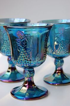 Items similar to Indiana Harvest Blue Carnival Glass Goblet - set of 3 on Etsy Antique Dishes, Antique Glassware, Vintage Dishes, Vintage Pyrex, Antique Bottles, Vintage Bottles, Vintage Perfume, Vintage Items, Blue Carnival Glass
