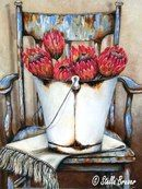 Stella Bruwer white enamel bucket of red protea on white fringe cloth on shabby blue chair Protea Art, Stella Art, Vintage Diy, South African Artists, Still Life Art, Art Oil, Vintage Prints, Painting Inspiration, Diy Art