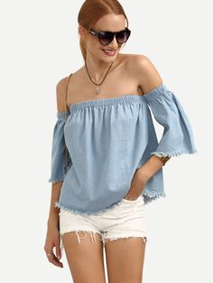 15$  Watch now - http://dind0.justgood.pw/go.php?t=2877 - Blue Off The Shoulder Raw Trim Blouse