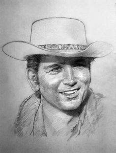 "Michael Landon as Little Joe on ""Bonanza"". Celebrity Caricatures, Celebrity Drawings, Celebrity Portraits, Pencil Art, Pencil Drawings, Art Drawings, Horse Drawings, Drawing Art, Silvester Stallone"