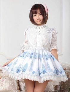 Sweet Blue Lace Snowflower Printed Polyester Lolita Dress - Lolitashow.com