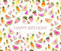 Card Happy Birthday fruits watermelon pineapple by SoniaCavallini