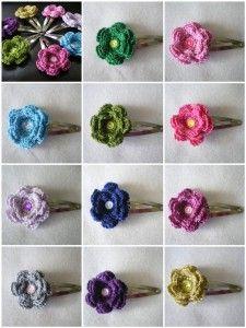 como hacer flores en crochet para el cabello - Google Search