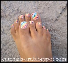 easy to do summer nail designs   ... tools and take your rainbow colors nail polish,and start dotting