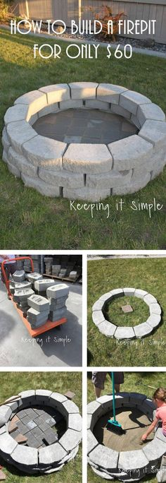 Simple $60 DIY Stone Firepit #outdoorideasbackyard