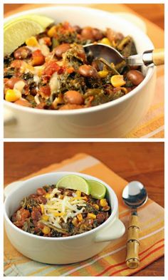 Slow Cooker Vegan Spicy Pinto Bean Chili with Corn and Kale from The Perfect Pantry [via Slow Cooker from Scratch - SlowCookerFromScratch] #SlowCooker #CrockPot #Vegan