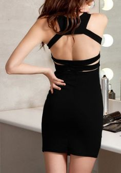 #SheInside Black Spaghetti Strap Backless Bodycon Dress - Sheinside.com