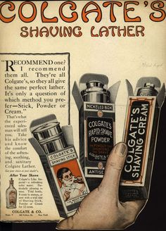 ad: colgate companys colgates shaving lather 1914 (courtesy of vintage ad browser)