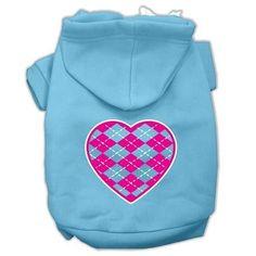 Argyle Heart Pink Screen Print Pet Hoodies Baby Blue Size XXL (18)