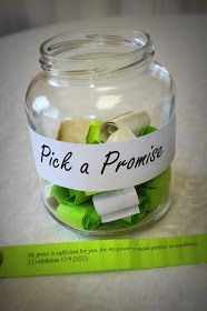 Promises in a Jar , bible verse ** For those times when life makes me forget that all His promises are true.** cute idea for ladies Bible study / women's ministry Prayer Jar, Prayer Room, Object Lessons, Bible Lessons, 365 Jar, Prayer Breakfast, Prayer Stations, Christian Crafts, Church Crafts