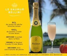 Cocktail à base de pêche et de Saumur Blanc : le Saumur Bellini ! Saumur, Bellini, Alcoholic Drinks, Champagne, Bottle, Alcohol, White People, Flask, Liquor Drinks