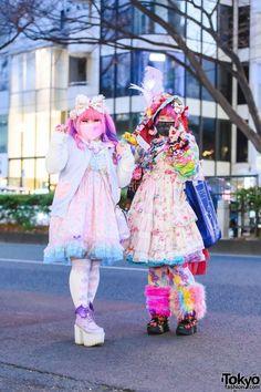 Pastel x Colorful Harajuku Street Styles in Harajuku w/ Twin Tails, Fuzzy Face Mask, Embellished Hat, Listen Flavor, Unicorn Print Corset Dress, Metamorphose Floral Print Dress, Dangerous Nude & Yosuke Platforms Kawaii Fashion, Lolita Fashion, Tokyo Fashion, Fashion News, Harajuku, Pink Hair Bows, Unicorn Print, Weird Fashion, Mori Girl