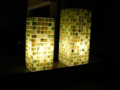 Lit cubes with glass tiles