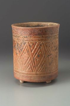 Tripod vase with incised geometric textile motifs Maya , A.D. 600–700. -1