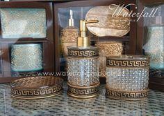 Bronzové koupelnové doplňky, zásobník na mýdlo, retro držák na kartáčky a na mýdlo / Bronz bathroom accessories, dispenser, toothbrush holder, soap dish