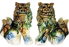 Foo sit 5.75H sold $99 ... Majolica-Style Ceramic Foo Dogs, Pair