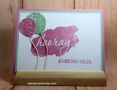 Stampin' Up! Birthday card made with Reverse Words stamp set and designed by Demo Pamela Sadler. See more cards at stampinkrose.com #stampinkpinkrose #etsycardstrulyheart