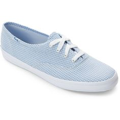 Keds Blue Seersucker Low Top Sneakers ($22) ❤ liked on Polyvore featuring shoes, sneakers, blue, low profile shoes, laced up shoes, blue sneakers, round toe shoes and round cap