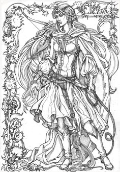 White Ledy Noldor. lineart by Righon @ DeviantArt