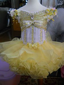 3T 4T Baby Yellow White 2pc National Glitz Pageant Dress BY Cate Doddy NEW | eBay