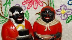 Vintage 1940's Aunt Jemima  Uncle Moses,  Salt & Pepper Shakers, Black Americana, Collectible Folk Art, Negro, Antique Quaker Oats Colored by TheIDconnection on Etsy