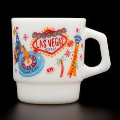 Coolest mug!-  Fire King stacking mug cup LAS VEGAS Handmade Made In Japan rare | eBay