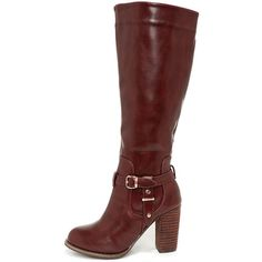Moto Maven Wine Red Knee High Heel Boots ($38) ❤ liked on Polyvore featuring shoes, boots, red, buckle boots, knee high buckle boots, vegan knee high boots, knee high heel boots and faux-leather boots