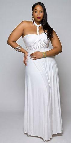 WHITE HALTER TOP MAXI DRESS PLUS SIZE #UNIQUE_WOMENS_FASHION